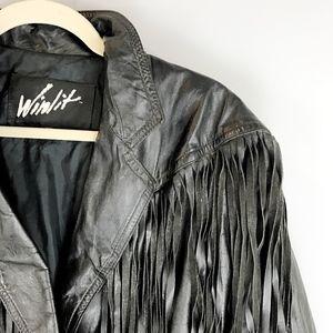 Vintage Jackets & Coats - VTG WINLIT Fringed Leather Jacket
